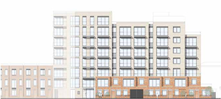 7 and 8 storey blocks overlooking Turnham Green - rest of Chiswick High Road is 3 to 4 storeys